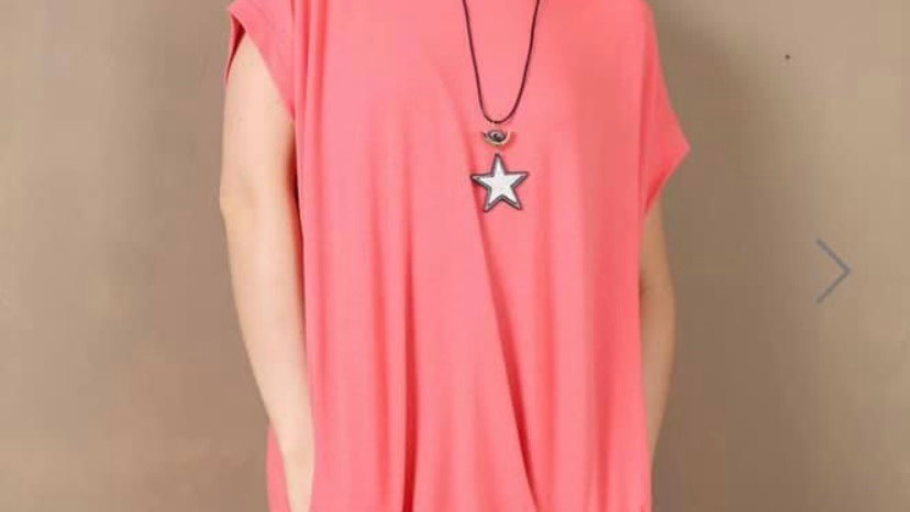 Coral Necklace Tshirt Dress
