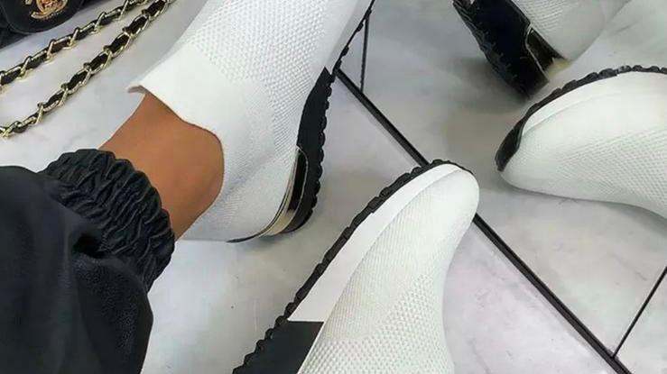 White Slip On Sock Trainers