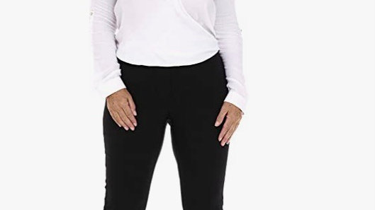 Pinns Begonia  Black Ankle Grazer Stretch Trousers