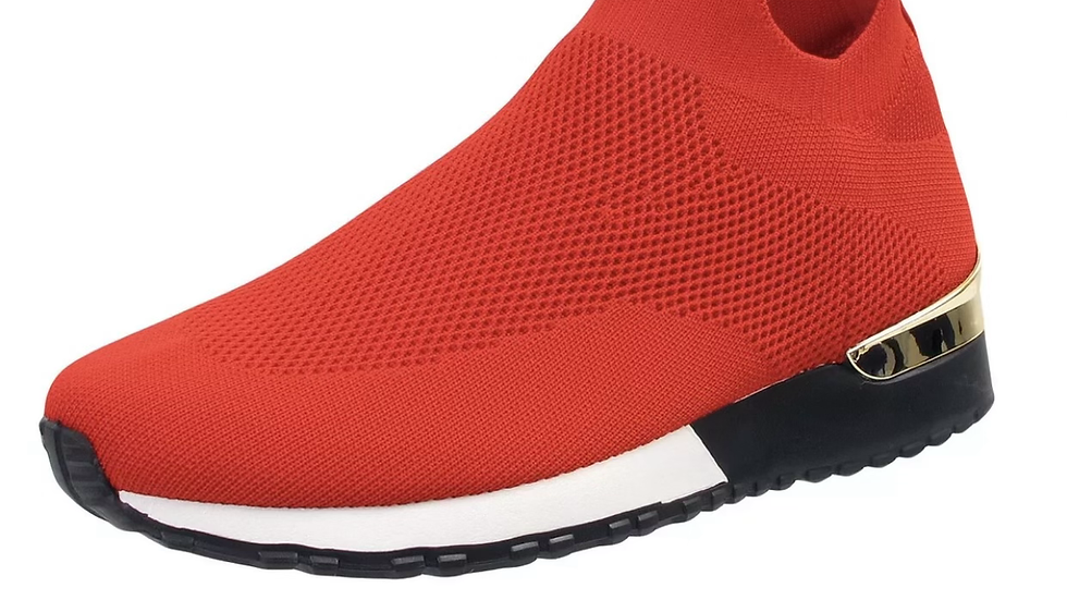 Red Slip On Knitted Sock Trainers