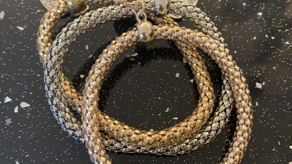 Rose Gold, Gold & Silver 3 Chain Bracelets