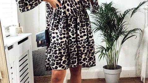 Animal Print Smock Oversized Tiered Mini Dress