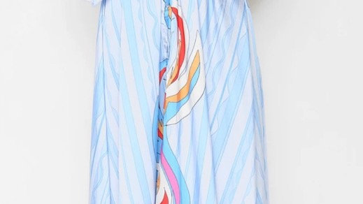 Kimono Maxi Dress with Baby Blue Detail