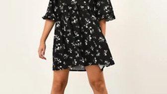 Black Floral Ruffle Smock Dress