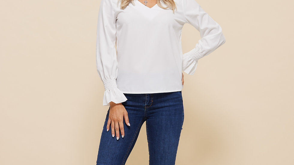 LooBees White Long Sleeve Tunic Top