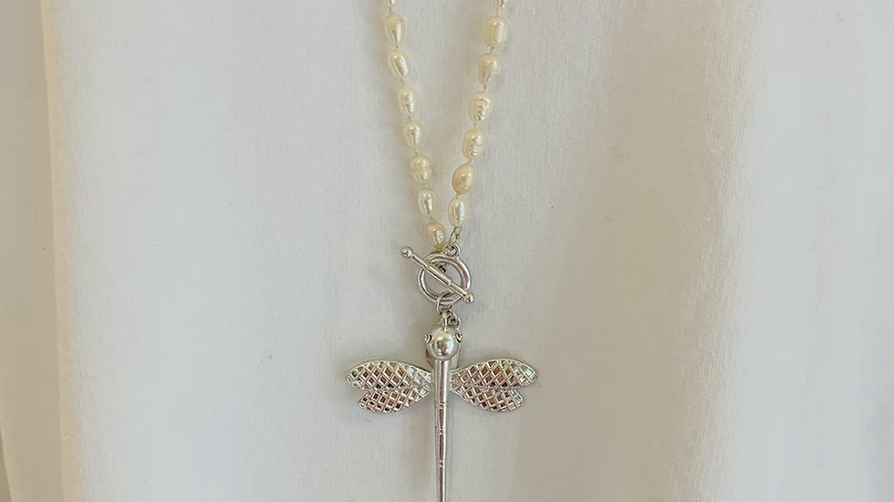 Pearl and Butterfly Long Necklace