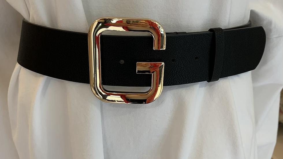 Gold Buckle Black Belt