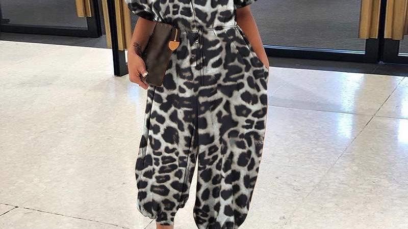 LooBees Leopard Print Jumpsuit - Grey