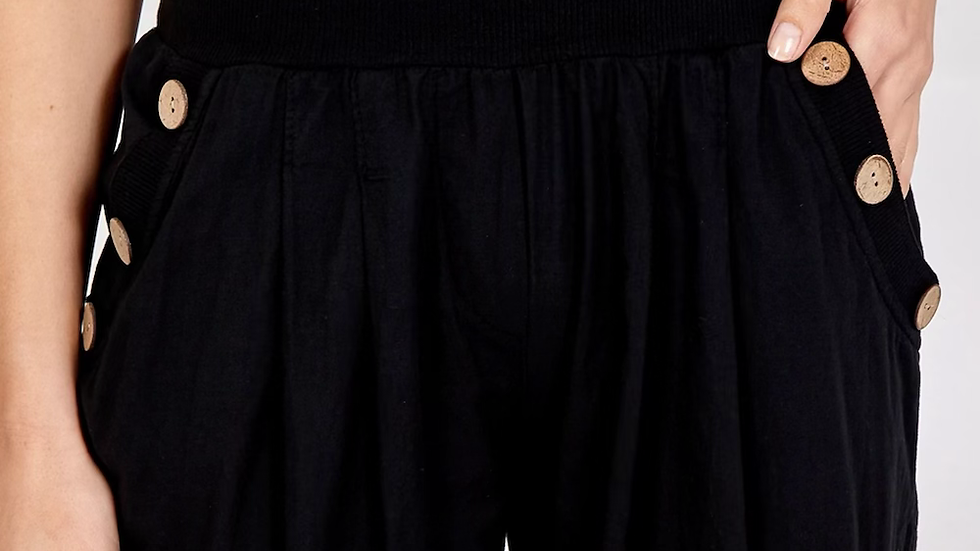 Black Button Detail Harem Pants