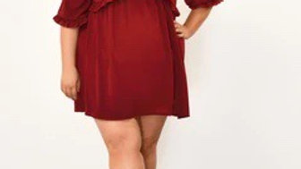 Berry Deep Plunge Frill Detail Dress
