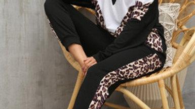 White & Leopard Striped Loungewear Co Ord Set In Black