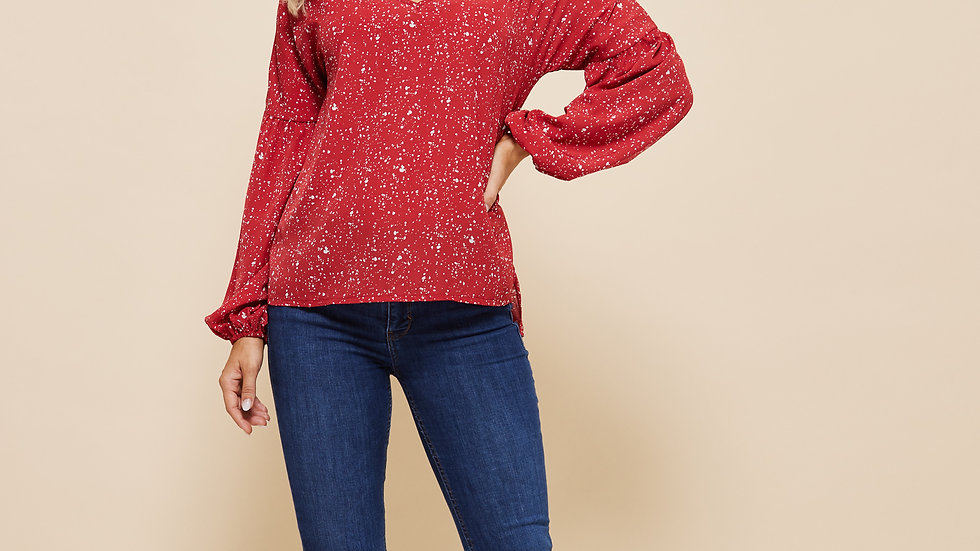 LooBees Red V-Neck Long Sleeve Patterned Top