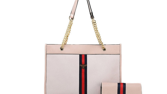 Designer Inspired Bag and Purse - White & Pink