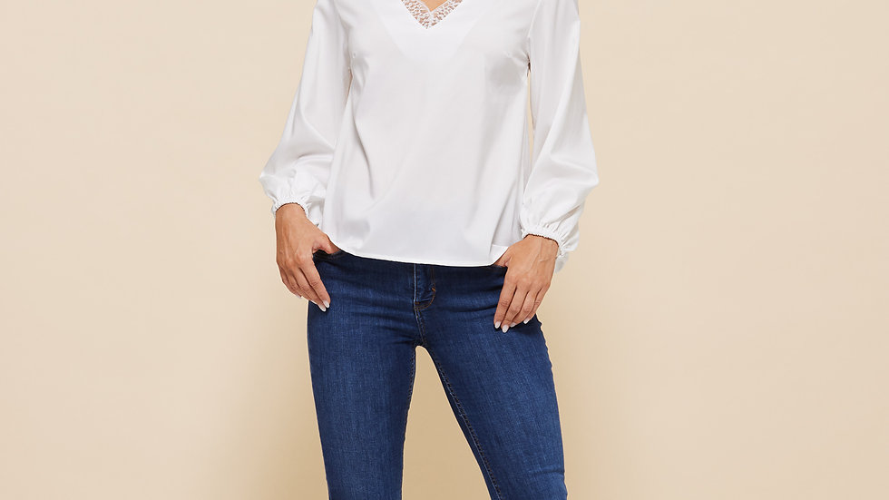 LooBees White Lace Trimmed Long Sleeved Top