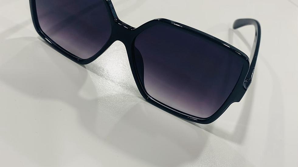 Oversized Square Flat Black Sunglasses