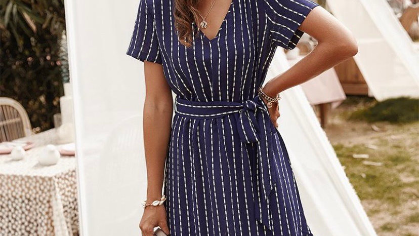 LooBees Navy Patterned Dress