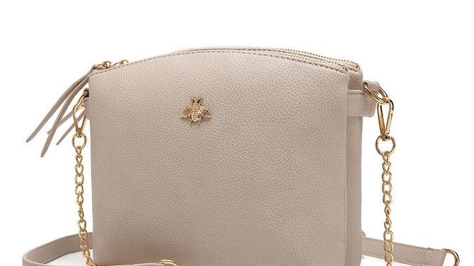 Designer Inspired Leather Bag - Beige
