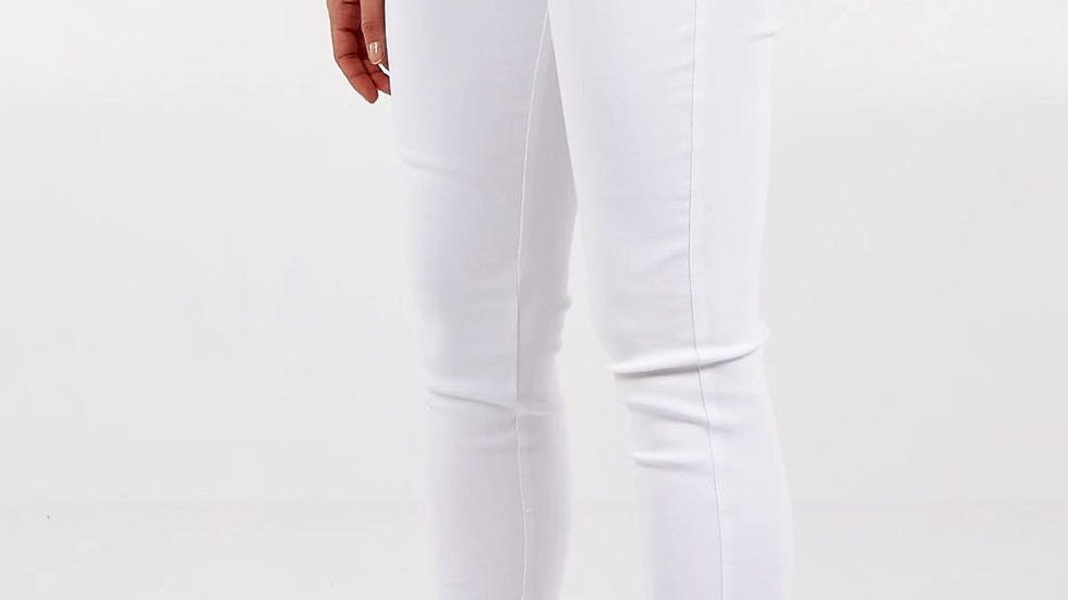 High waisted stretchy white skinny jeans