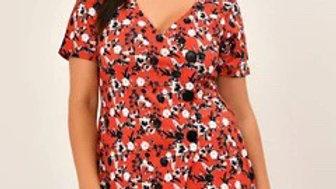 Red Floral Print Asymmetric Dress