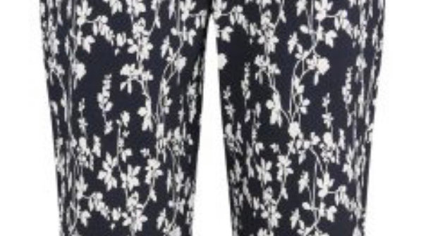 Pinns Black Floral Stretch Ankle Grazer Trousers