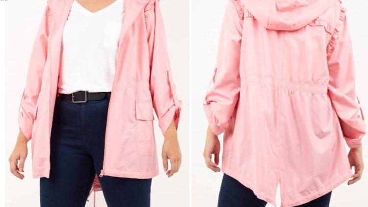 Pink Curvy Range Rain Mac