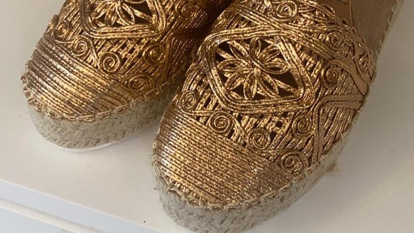 Gold Woven Espadrilles