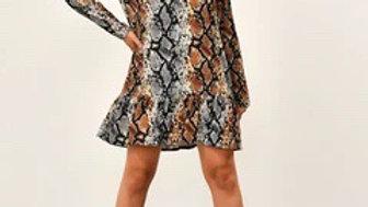 Snake V Neck Printed Smock Dress