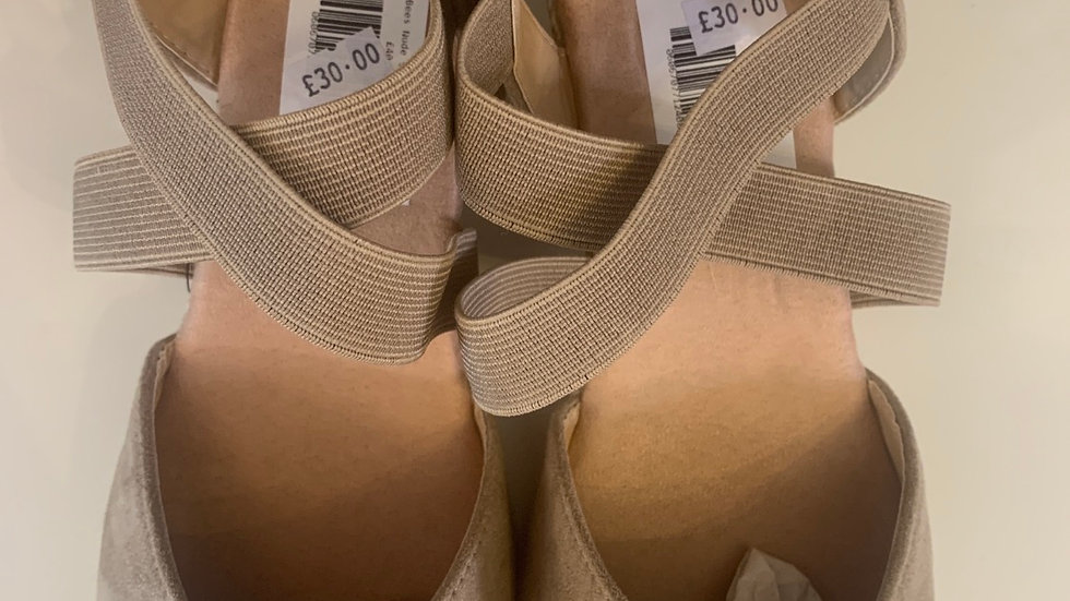 Nude Cross Over Strap Wedge
