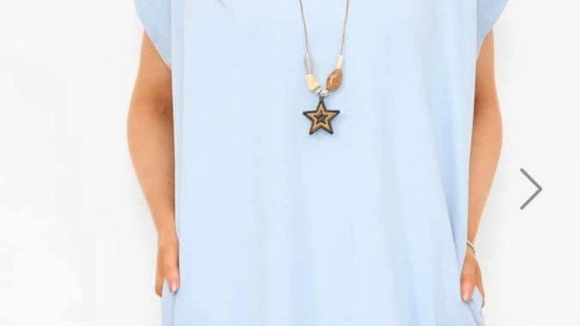 Blue Necklace Tshirt Dress