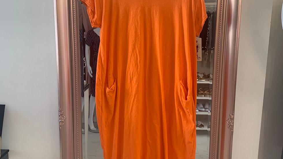 Orange Pocket T Shirt Dress