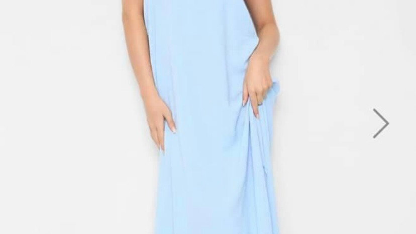 Light Blue Maxi with Shoe string Straps