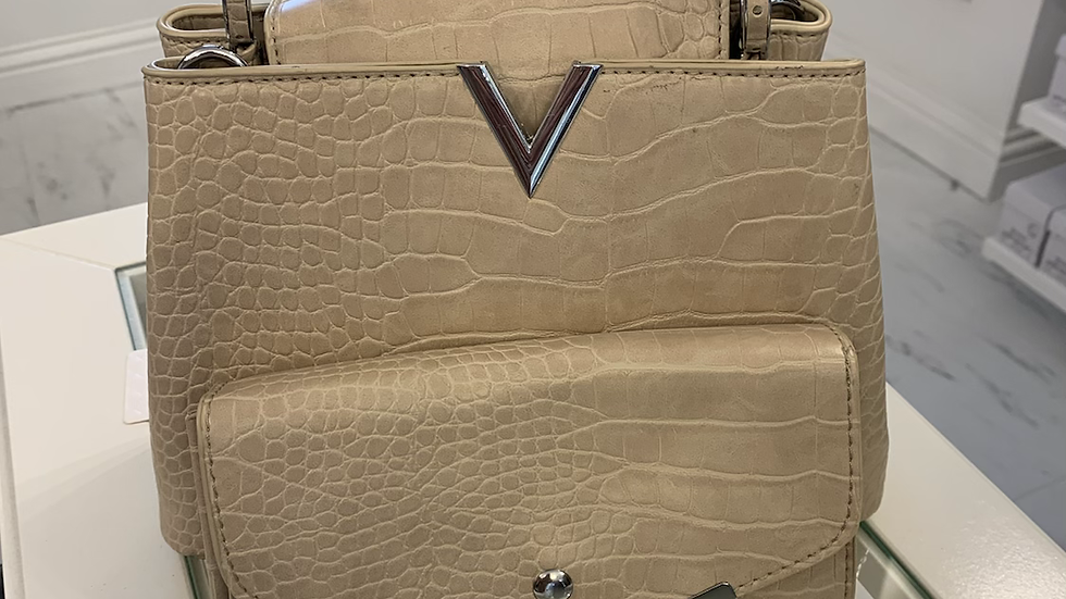 Nude Croc Effect Small Tote With Purse