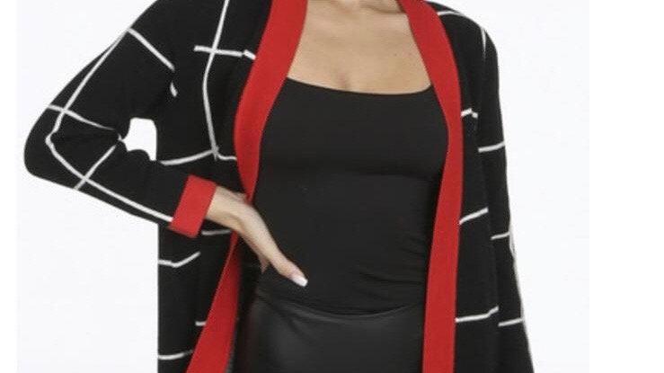 Black, red & white long cardigan