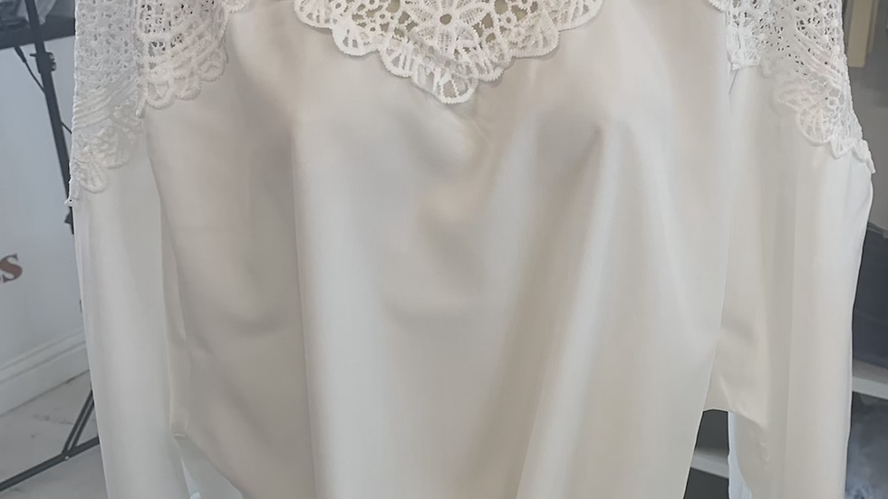 White Tie Up Lace Blouse