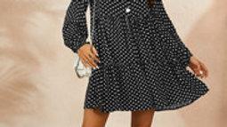 Button Front Ruffle Mini Dress In Black & White Polka Dot