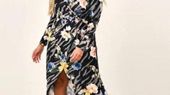 Navy Floral Animal Print Wrap Maxi Dress