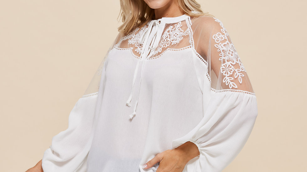 LooBees White Long Sleeved Top with Lace Detail Sleeve