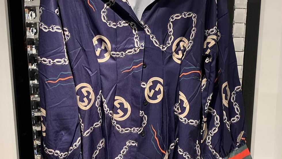 TBK blue printed shirt
