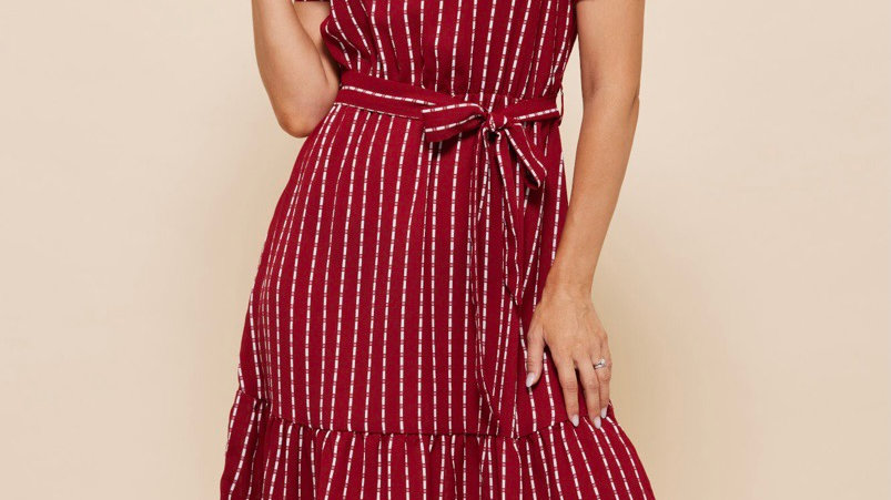 LooBees Red Patterned Dress LB02