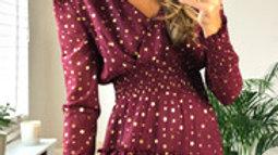 Burgundy Shimmer Balloon Long Sleeve Ruffle Mini Dress