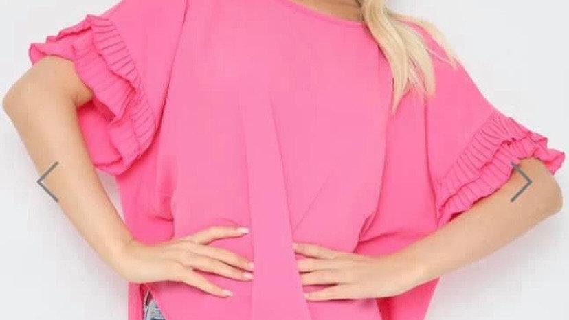 Pink Shift Ruffle Top