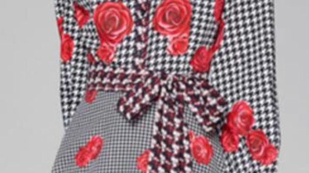 Dogtooth Red Rose Dress