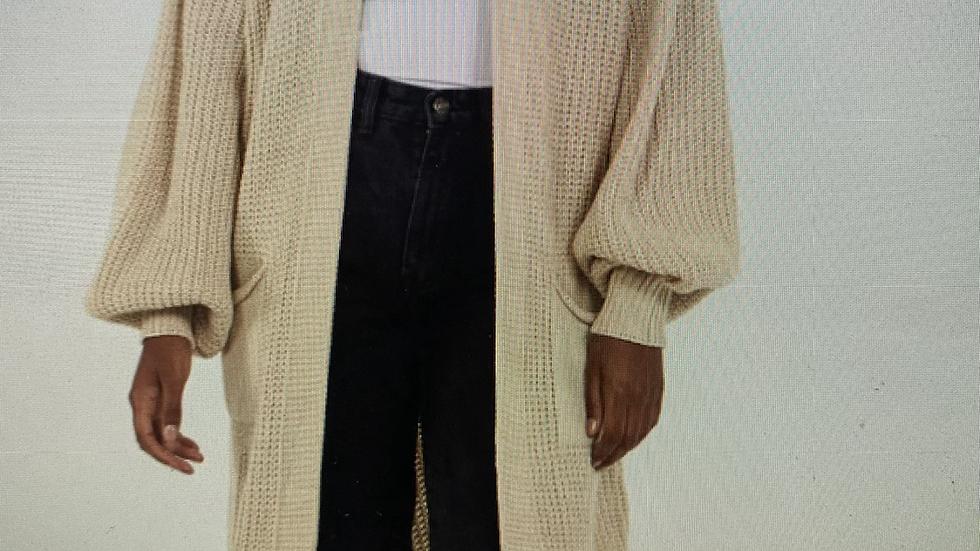 Long Cream Wooly Cardigan