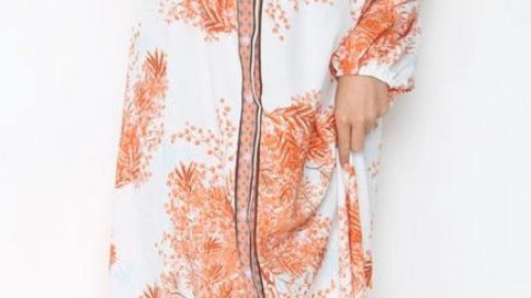 Orange Floral Long Sleeve Maxi Dress