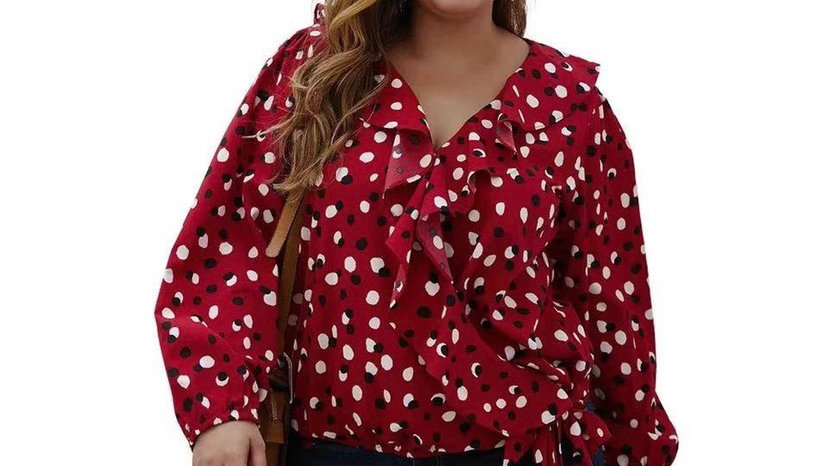 LooBees Curvy Red Blouse