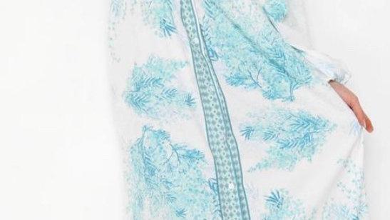 Powder Blue Long Sleeve Maxi Dress