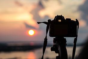 Camera shooting sunset
