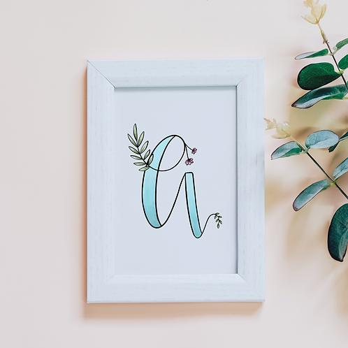 Floral Alphabet Print | 5 x 7
