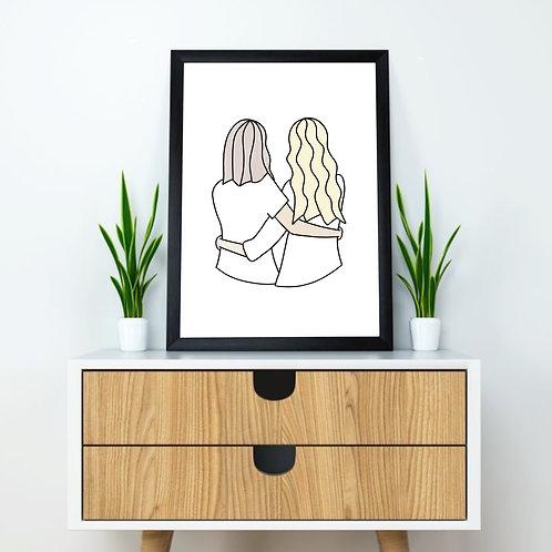 Friendship Illustration | 8 x 10 Print