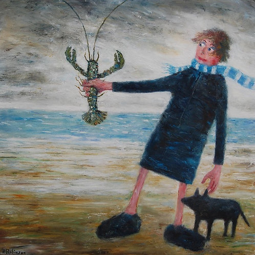 Lady and Dog Admiring Lobster